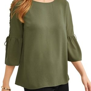 Time And Tru Lace Up Bell Sleeve Peasant Blouse